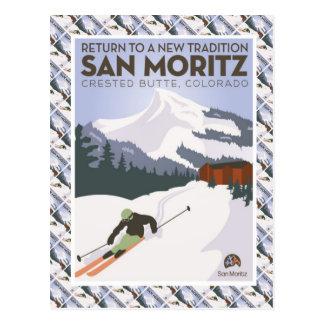 Carte Postale Affiche vintage de ski, butte crêtée de San