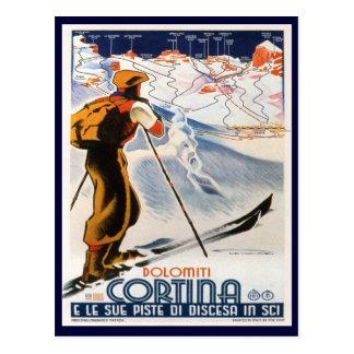 Carte Postale Affiche vintage de ski,    dolomites, Cortina