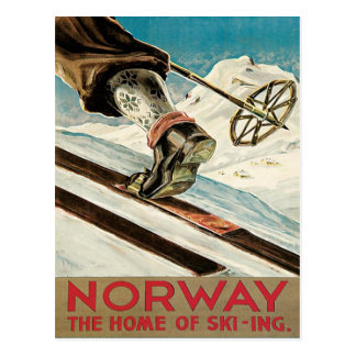 Carte Postale Affiche vintage de ski, Norvège
