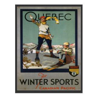 Carte Postale Affiche vintage de ski, Québec