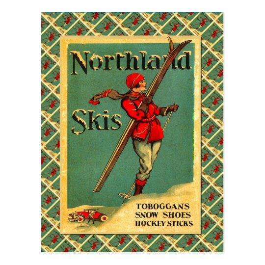 Carte Postale Affiche vintage de ski, skis de la terre du nord | Zazzle.fr