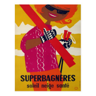 Carte Postale Affiche vintage de ski, Superbagneres