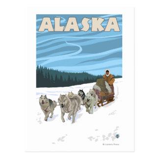 Carte Postale Affiche vintage de voyage d'AlaskaDogsledding