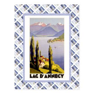 Carte Postale Affiche vintage de voyage, d'Annecy de laque