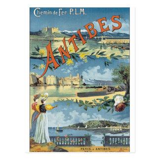 Carte Postale Affiche vintage de voyage d'Antibes