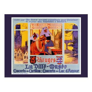 Carte Postale Affiche vintage de voyage de Bruges reconstituée