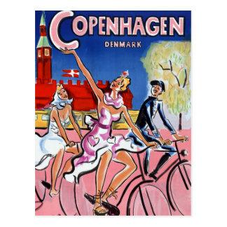 Carte Postale Affiche vintage de voyage de Copenhague