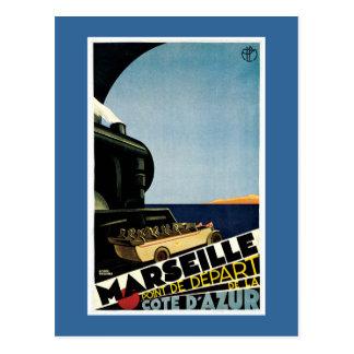 Carte Postale Affiche vintage de voyage de Français de Marseille