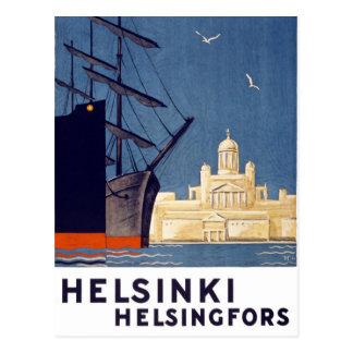 Carte Postale Affiche vintage de voyage de Helsinki reconstituée
