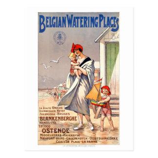 Carte Postale Affiche vintage de voyage de la Belgique Ostende