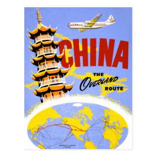 Carte Postale Affiche vintage de voyage de la Chine reconstituée