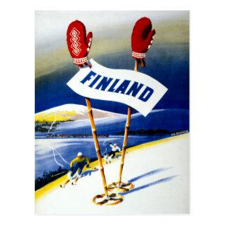 Carte Postale Affiche vintage de voyage de la Finlande