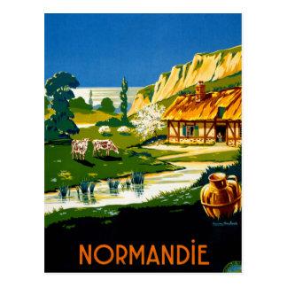 Carte Postale Affiche vintage de voyage de la France Normandie