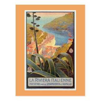 Carte Postale Affiche vintage de voyage de la Riviera d'Italien