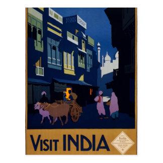 Carte Postale Affiche vintage de voyage de l'Inde de visite