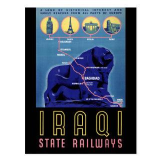 Carte Postale Affiche vintage de voyage de l'Irak reconstituée