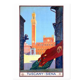 Carte Postale Affiche vintage de voyage de l'Italie Sienne