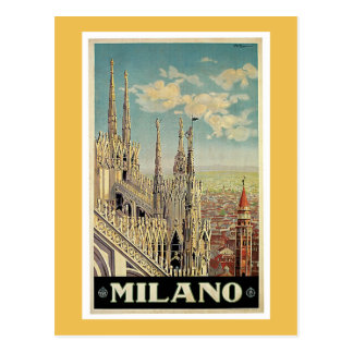 Carte Postale Affiche vintage de voyage de Milan Italie