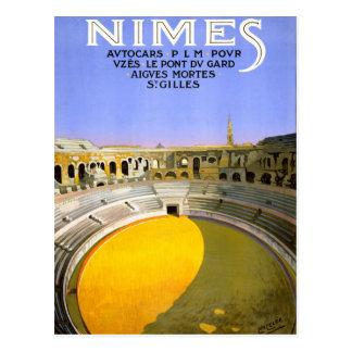 Carte Postale Affiche vintage de voyage de Nîmes France