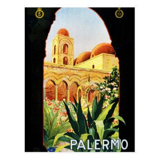 Carte Postale Affiche vintage de voyage de Palerme Sicilia