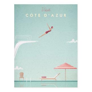 Carte Postale Affiche vintage de voyage de plongée de d'Azur de