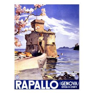 Carte Postale Affiche vintage de voyage de Rapallo Gênes Italie