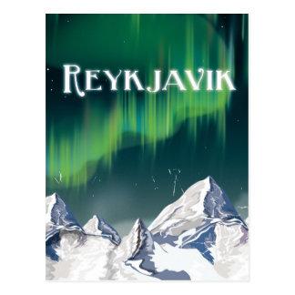 Carte Postale Affiche vintage de voyage de Reykjavik
