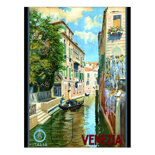 Carte Postale Affiche vintage de voyage de Venise | Zazzle.fr