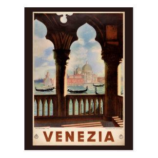 Carte Postale Affiche vintage de voyage de Venise Venezia