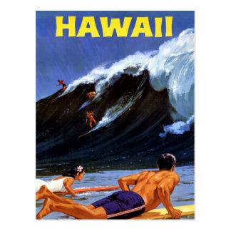 Carte Postale Affiche vintage de voyage d'Hawaï reconstituée