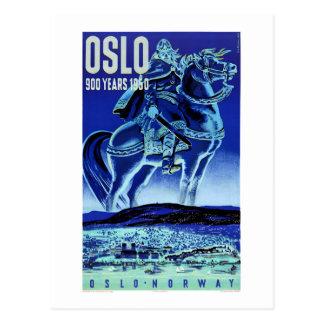 Carte Postale Affiche vintage de voyage d'Oslo Norvège
