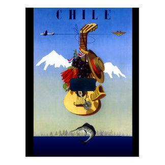 Carte Postale Affiche vintage de voyage du Chili