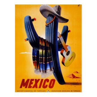 Carte Postale Affiche vintage de voyage du Mexique reconstituée