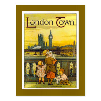 Carte Postale Affiche vintage de voyage, ville de Londres,