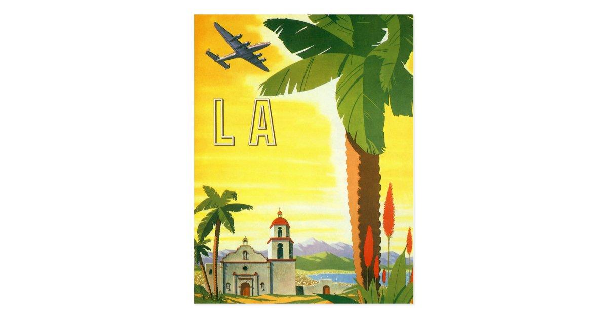 Carte Postale Affiche Vintage voyage, Los Angeles, Californie | Zazzle.fr