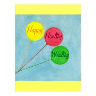 Carte Postale Affirmation riche saine heureuse de ballon