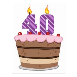 Carte Postale Âge 40 sur le gâteau d'anniversaire