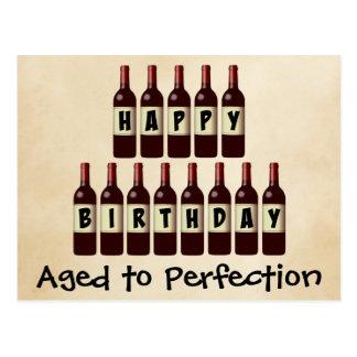 Carte Postale Âgé anniversaire d'amateur de vin de perfection au