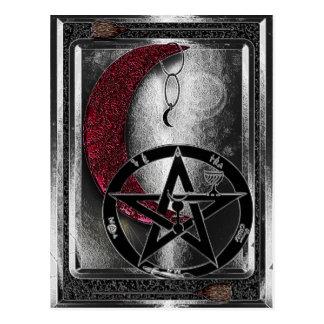 Carte Postale Âge de croissant de lune argenté de Wiccan nouvel