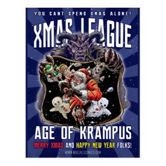 Carte Postale Âge de ligue de Noël de Krampus
