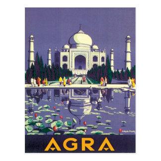 Carte Postale Âgrâ vintage le Taj Mahal Inde