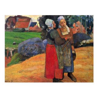 Carte Postale Agriculteurs bretons par Gauguin Paul (la