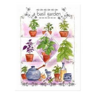 Carte Postale Ail de pesto d'art d'herbe d'aquarelle de jardin