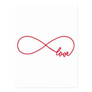 Carte Postale Aimez pour toujours, signe rouge d'infini, amour