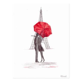 Carte Postale Ajouter d'amour de Paris au parapluie rouge