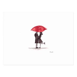 Carte Postale Ajouter romantiques de Saint-Valentin au parapluie