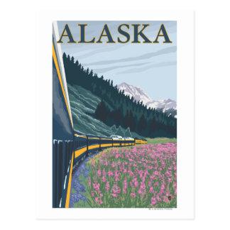 Carte Postale AlaskaRailroad et voyage vintage de Fireweed