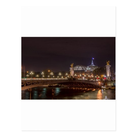 Carte Postale Alexander bridge and grand palais at night Paris