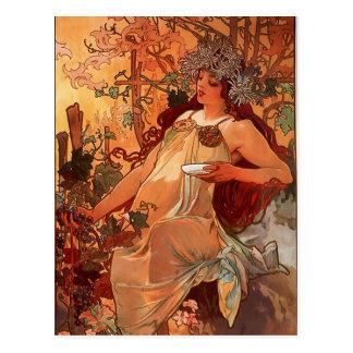 Carte Postale Alfons Mucha - quatre-saisons - l'AUTOMNE