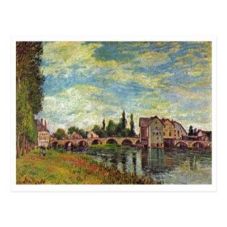 Carte Postale Alfred Sisley Brücke, Mühle v Moret im Sommer 1888